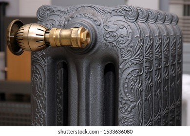 Cast iron radiator close-up. Vintage radiator.