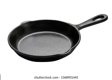 Cast iron skillet, Empty cast iron pan with handled isolated on white background with clipping path, Side view