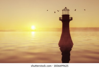 Cast Iron Whiteford Lighthouse at sunrise, Gower, Wales