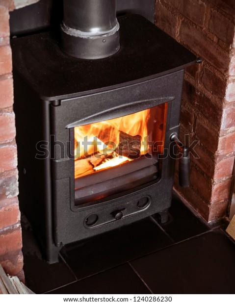 Cast Iron Wood Burner Old Brick Stock Photo Edit Now 1240286230