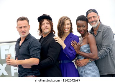 """Cast members of """"The Walking Dead"""" arrive at a special AMC photo call at the Andaz Rooftop Lounge on July 20, 2018 in San Diego, CA."""
