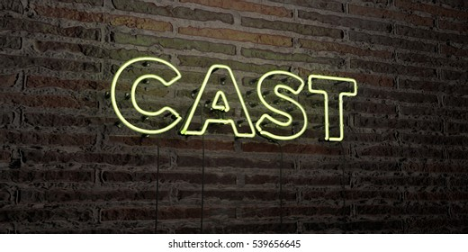 CAST -Realistic Neon Sign on Brick Wall background - 3D rendered royalty free stock image. Can be used for online banner ads and direct mailers.
