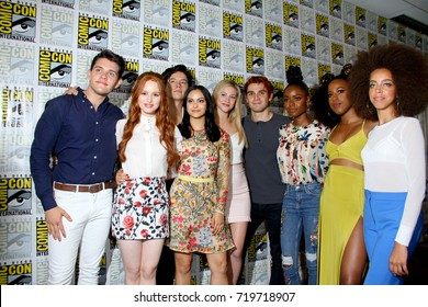 "The cast of ""Riverdale"" arrives at the 2017 Comic Con press room at the Hilton San Diego Bayfront hotel on July 22, 2017 in San Diego, CA."