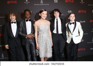 "The cast of ""Stranger Things"" arrive at the Weinstein Company and Netflix 2017 Golden Globes After Party on Sunday, January 8, 2017 at the Beverly Hilton Hotel in Beverly Hills, CA."