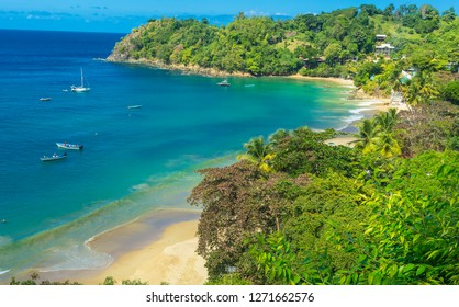 Castara is a small fishing village on the tropical island of Tobago in the Caribbean.  Often called the original Robinson Crusoe island.  Deep blue sky and azure blue ocean. Landscape, Horizontal.
