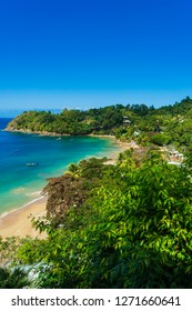 Castara is a small village on the island of Tobago in the West Indies, Caribbean. Deep blue sky, rain forests and azure blue seas.  Often called the Robinson Crusoe island.  Portrait, vertical