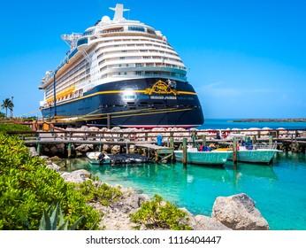 CASTAWAY CAY, BAHAMAS: JUNE 15, 2018 - The Disney Fantasy cruise ship, docked at port Castaway Cay, Bahamas