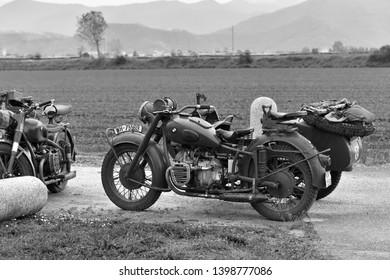 Castegnato, Brescia, Italy - April 25 2019:  exhibition of retro BMW military motorbikes of WW2 Nazi army