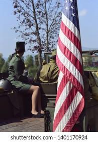 Castegnato, Brescia, Italy - April 25 2019 : commemoration of US World War 2 veterans soldiers in Italian liberation day
