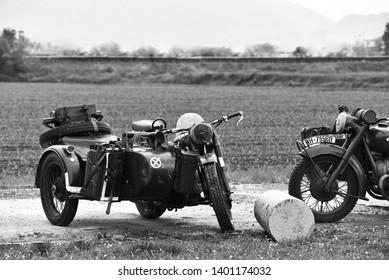 Castegnato, Brescia, Italy - April 25 2019 : exhibition of WW2 Nazi army BMW mortobikes during italian's liberation day.