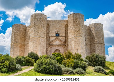 Castel del Monte on blue sky background, Italy