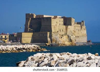 Castel dell'Ovo (Egg Castle) a medieval fortress in the bay of Naples, Italy