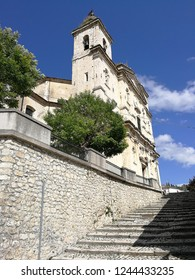 Castel di Sangro, L'Aquila, Abruzzo, Italy - September 1, 2018: View of the Basilica of Santa Maria Assunta from the steps of the historic center