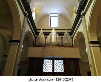 Castel di Sangro, L'Aquila, Abruzzo, Italy - September 1, 2018: Pipe organ of the church of San Giovanni Battista