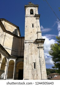 Castel di Sangro, L'Aquila, Abruzzo, Italy - September 1, 2018: View of the Basilica of Santa Maria Assunta decorated overlooking the historic center