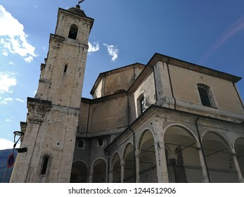 Castel di Sangro, L'Aquila, Abruzzo, Italy - September 1, 2018: View of the Basilica of Santa Maria Assunta overlooking the historic center