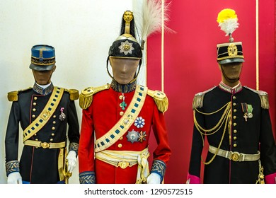 CASTEL GANDOLFO (ROME), ITALY - JANUARY 3, 2019: lights are enlightening mannequins in historical uniform in room of The Papal Palace of Castel Gandolfo