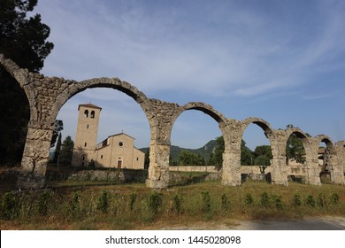 Castel San Vincenzo, Italy - 8 luglio 2019: the Benedictine Abbey of San Vincenzo in Molise in the upper valley of the Volturno