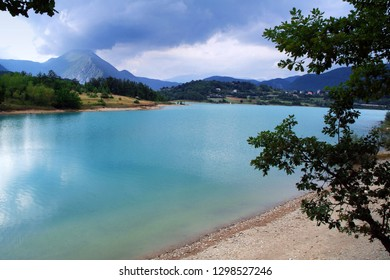 Castel San Vincenzo, Molise/Italy- The artificial lake on the slopes of the Mainarde mountains in the national park of Abruzzo and Molise.