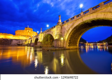 Castel Sant Angelo and bridge in Rome at dusk, Italy