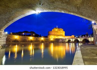 Castel Sant Angelo and bridges at dusk, Rome, Italy