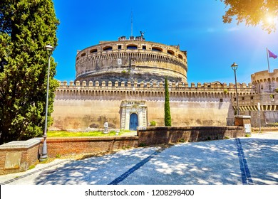 The Castel Sant Angelo or Mausoleum of Hadrian in Rome Italy, built in ancient Rome, it is now the famous tourist attraction of Italy