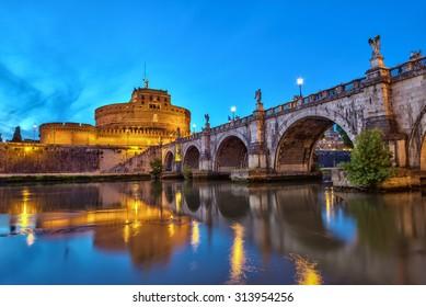 Castel Sant Angelo at night, Rome, Italy
