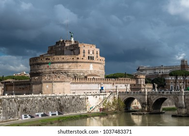 Castel Sant Angelo at River Tiber in Rome in Italy