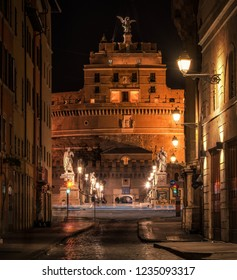 Castel Sant'Angelo or Castle of Holy Angel, Rome, Italy. Castel Sant'Angelo is one of the main travel destinations in Europe. View of Castel Angelo at the night time