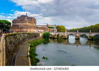 Castel Sant'Angelo or castle of Holy Angel and Ponte Sant'Angelo or Aelian Bridge over the Tiber river in Rome. Italy