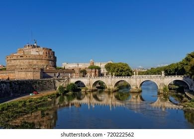 Castel Sant'Angelo and Ponte Sant'Angelo (Aelian Bridge) over the Tiber river, Rome, Italy