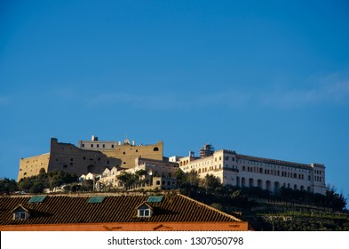 Castel Sant'Elmo and Certosa di San Martino on the top of the city in  Naples,Italy. Copy space