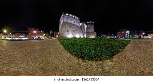 Castel Sismondo in Rimini, Italy in a panorama 360 degrees angle view ready for VR AR Virtual Reality content
