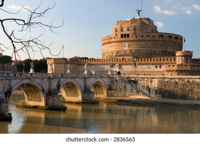 Castel St. Angelo in Rome, Italy framed by tree branches