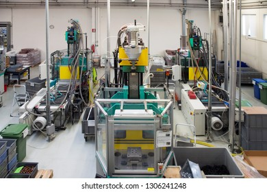 CASTELFRANCO VENETO (TV), ITALY - April 12, 2018 - Company specialized in the production of solenoids, transformers, electromagnetic coil with internal overmoulding department - Automatic lines.