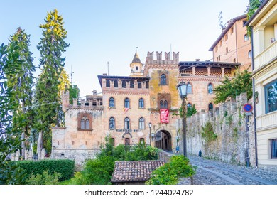 CASTELL ARQUATO,ITALY - SEPTEMBER 25,2018 - View at the Palace of Stradivari in Castell'Arquato.Castell'Arquato is an Italian town located on the first hills of Val D'Arda in the province of Piacenza.