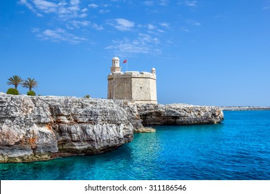 Castell de Sant Nicolau at the port mouth of Ciutadella de Menorca, Spain.
