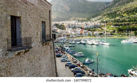 """Castellammare del Golfo, Sicily/Italy - 12.26.2019 """" aerial view of the castle balcony overlooking the harbor"""""""