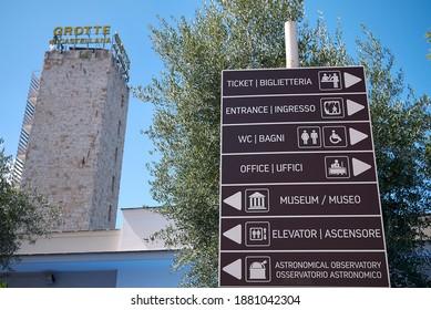 Castellana Grotte, Italy - September 04, 2020 : Information sign at Castellana Grotte