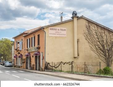 CASTELLANE - APRIL 9 : Auberge du Teillon restaurant and hotel on Napoleon road, gate of Gorge Verdon, in Castellane, France, on April 9, 2017.