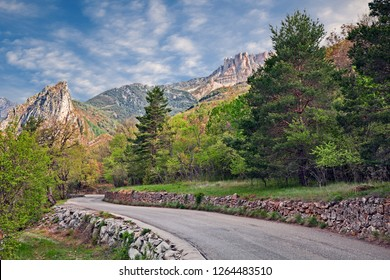 Castellane, Provence, France: spring landscape of the mountains in the Verdon nature park