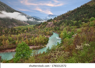 Castellane, Provence-Alpes-Cote d'Azur, France: spring landscape of the Alps mountains and the Verdon river in the picturesque nature park