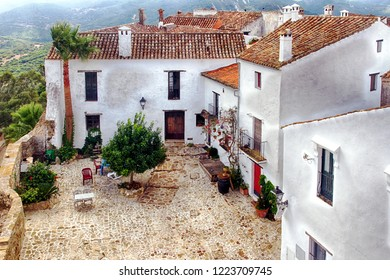 Castellar de la Frontera, typical street with flowers in the white facades.