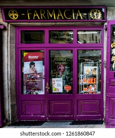 Castelldefels Barcelona, Spain - September 4, 2018: Front of old historical pharmacy shop in pedestrian street in center of Barcelona,