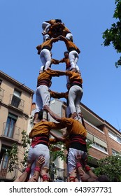 castellers, human tower from Catalonia, Cardedeu, may 7 2017