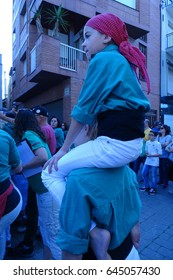 castellers, human towers from Catalonia, spain, may 7 2017 Cardedeu