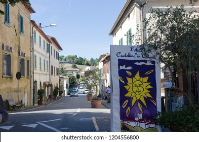 Castellina in Chianti, Italy - October 3, 2018: Street view from beautiful old city Castellina in Chianti in Tuscany in Italy