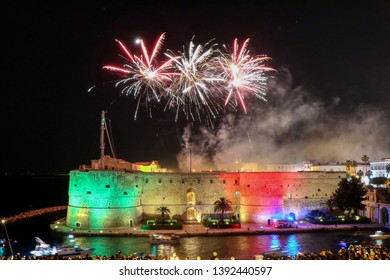 Castello Aragonese (Aragonese Castle) at night with fireworks on the feast of San Cataldo, Patron Saint of Taranto