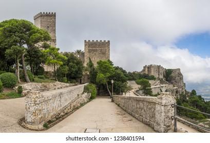 The Castello del Balio o Pepoli located in Erice, Trapani, Sicily, Italy