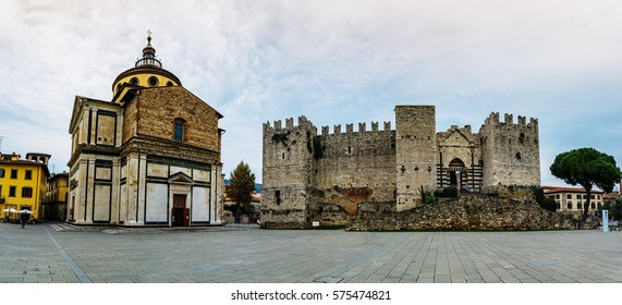 Castello dell'Imperatore is castle with crenellated walls and towers. Built for medieval emperor and King of Sicily Frederick II, it was built in Prato, Italy. Santa Maria delle Carceri.